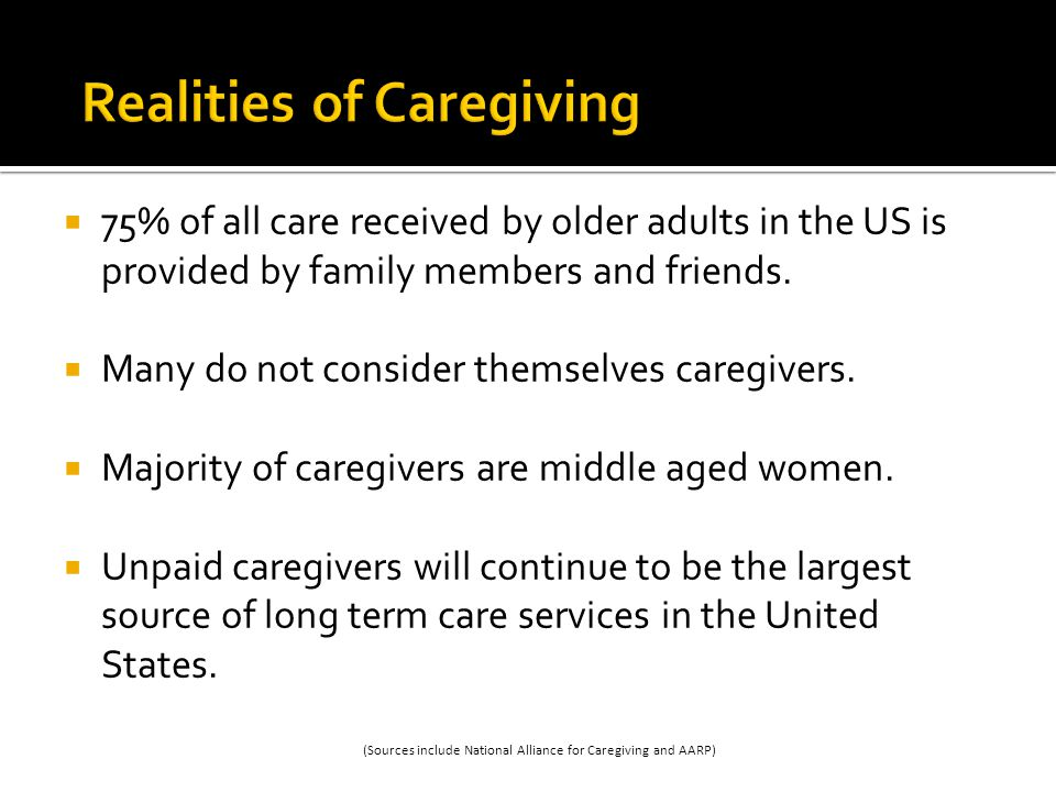 75% of all care received by older adults in the US is provided by family members and friends.