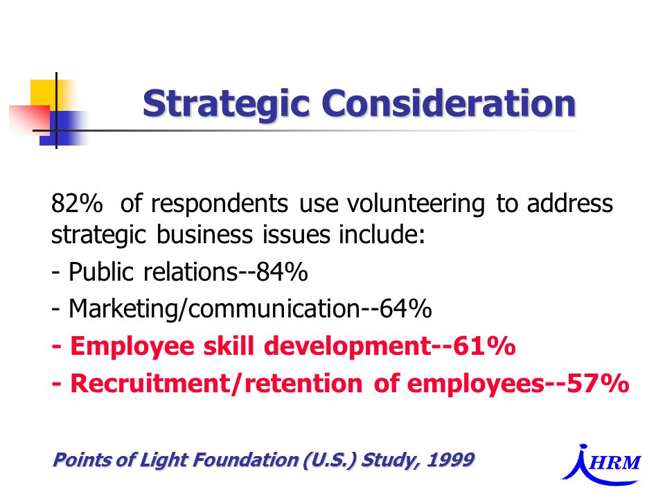 82% of respondents use volunteering to address strategic business issues include: - Public relations--84% - Marketing/communication--64% - Employee skill development--61% - Recruitment/retention of employees--57% Points of Light Foundation (U.S.) Study, 1999 Strategic Consideration