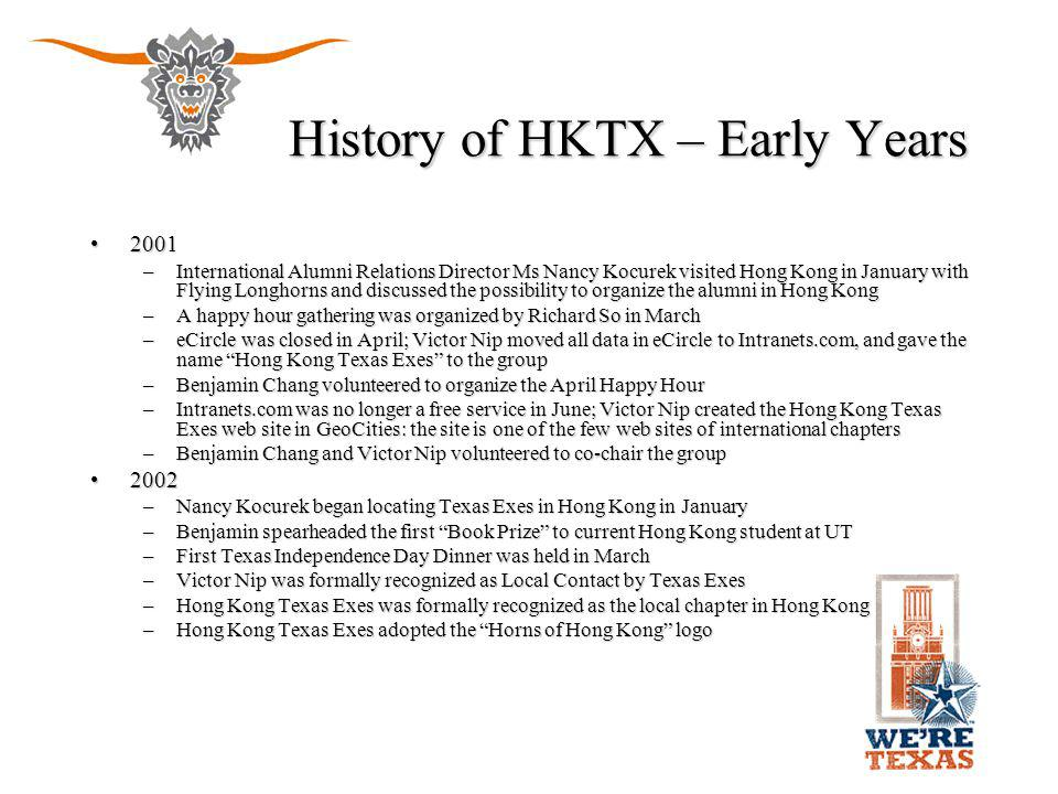 History of HKTX – Early Years 20012001 –International Alumni Relations Director Ms Nancy Kocurek visited Hong Kong in January with Flying Longhorns an