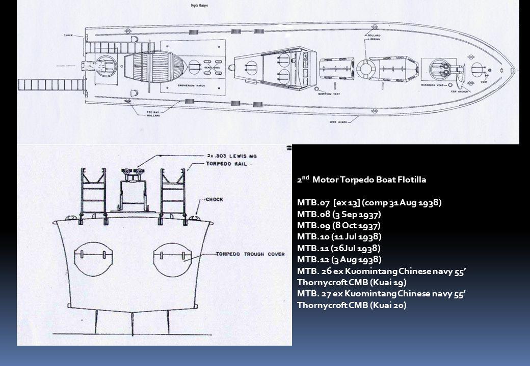 2 nd Motor Torpedo Boat Flotilla MTB.07 [ex 13] (comp 31 Aug 1938) MTB.08 (3 Sep 1937) MTB.09 (8 Oct 1937) MTB.10 (11 Jul 1938) MTB.11 (26Jul 1938) MTB.12 (3 Aug 1938) MTB.
