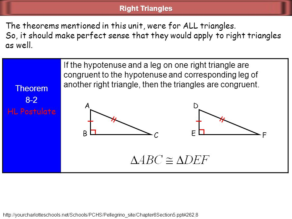 The theorems mentioned in this unit, were for ALL triangles.
