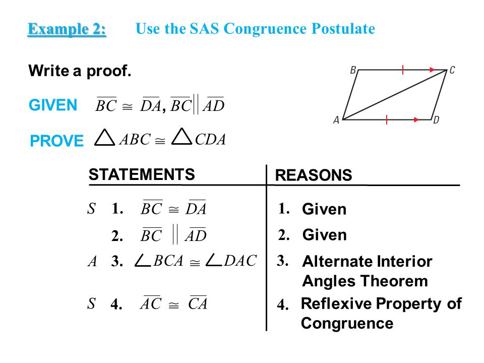 EXAMPLE 2 Use the SAS Congruence Postulate Write a proof.
