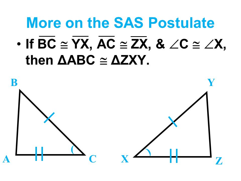 More on the SAS Postulate If BC  YX, AC  ZX, &  C   X, then ΔABC  ΔZXY. B ACX Y Z ) (