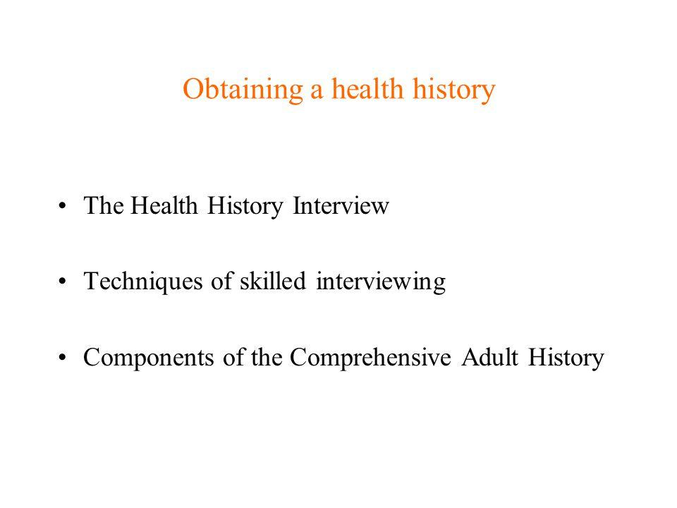 Comprehensive Adult History Comprehensive vs.
