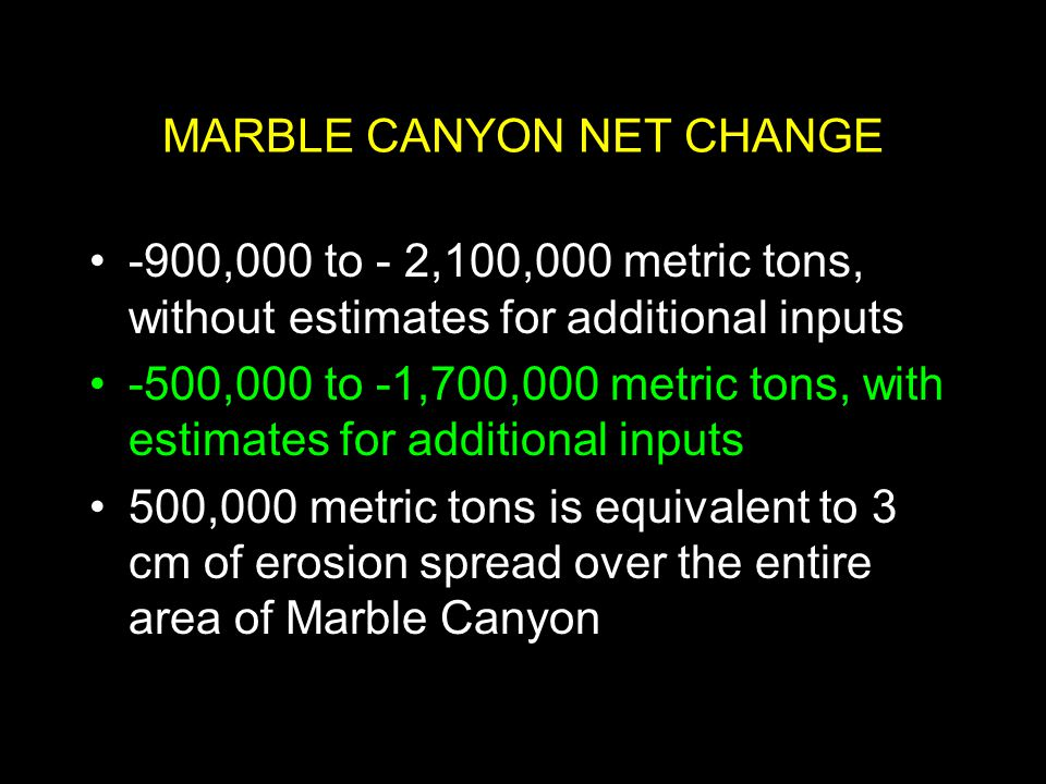 MARBLE CANYON NET CHANGE -900,000 to - 2,100,000 metric tons, without estimates for additional inputs -500,000 to -1,700,000 metric tons, with estimates for additional inputs 500,000 metric tons is equivalent to 3 cm of erosion spread over the entire area of Marble Canyon