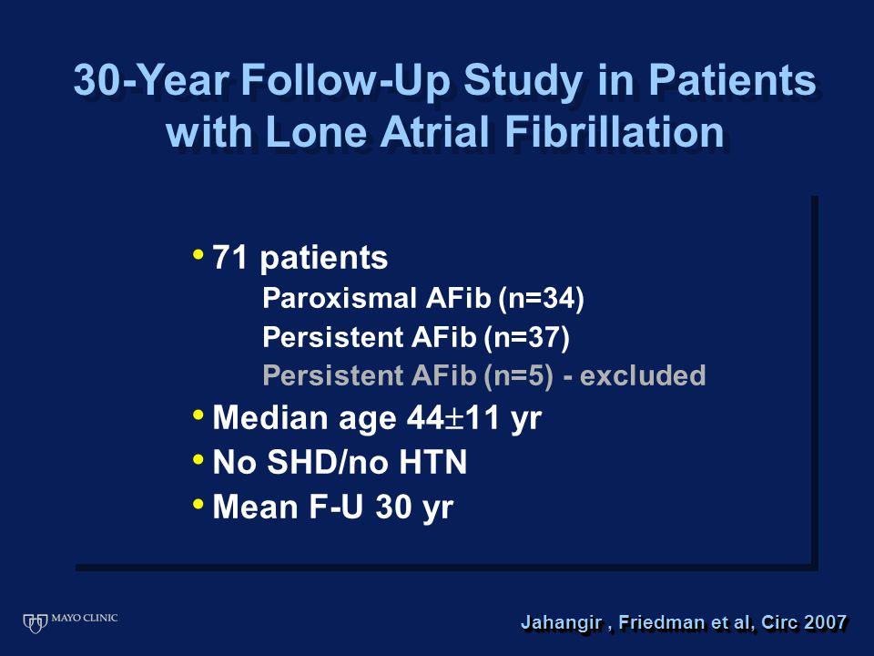 71 patients Paroxismal AFib (n=34) Persistent AFib (n=37) Persistent AFib (n=5) - excluded Median age 44  11 yr No SHD/no HTN Mean F-U 30 yr 71 patients Paroxismal AFib (n=34) Persistent AFib (n=37) Persistent AFib (n=5) - excluded Median age 44  11 yr No SHD/no HTN Mean F-U 30 yr 30-Year Follow-Up Study in Patients with Lone Atrial Fibrillation Jahangir, Friedman et al, Circ 2007
