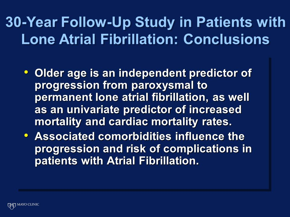 Older age is an independent predictor of progression from paroxysmal to permanent lone atrial fibrillation, as well as an univariate predictor of increased mortality and cardiac mortality rates.