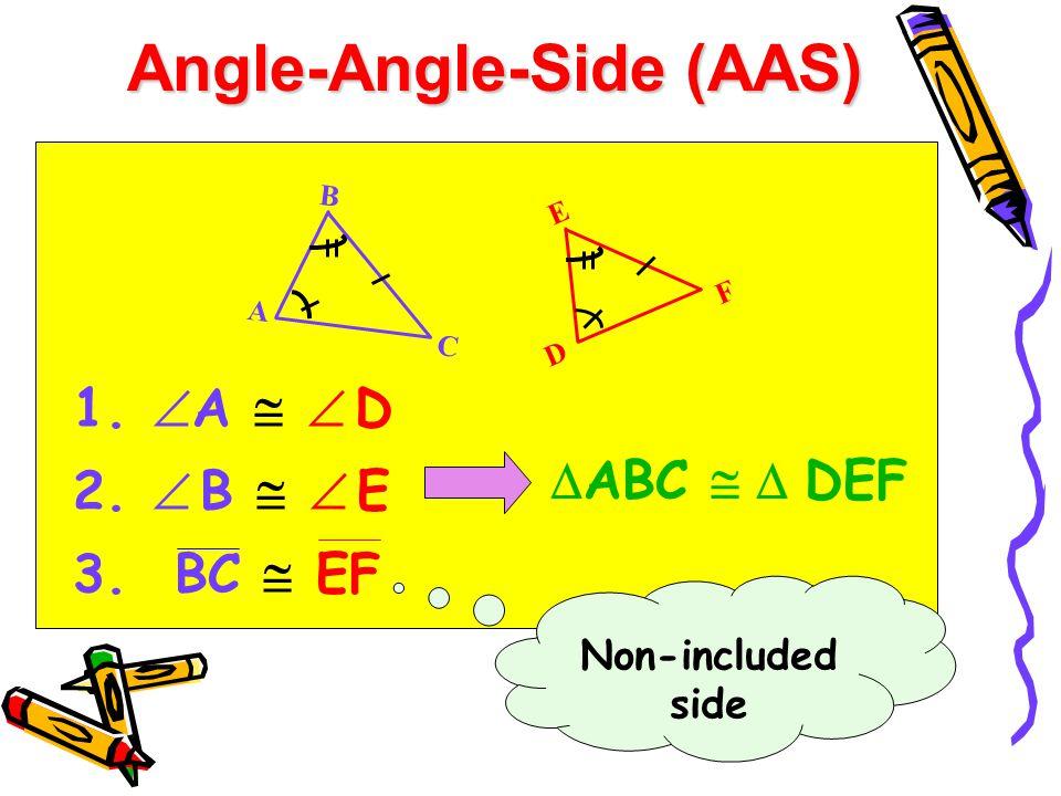 Angle-Angle-Side (AAS) 1.  A   D 2.  B   E 3. BC  EF  ABC   DEF B A C E D F Non-included side
