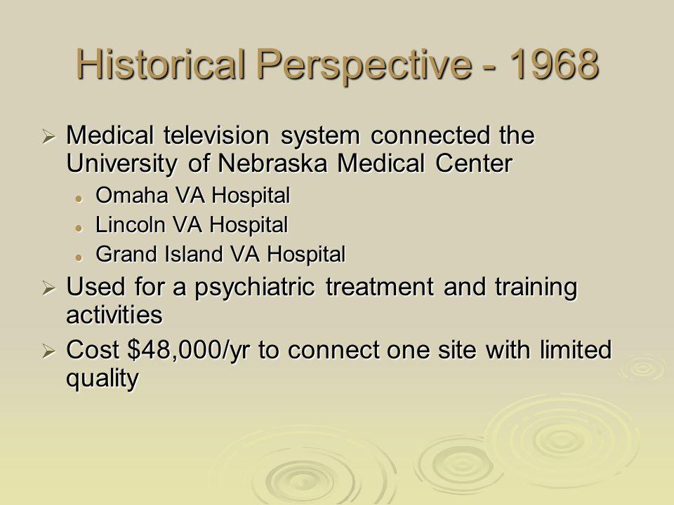 Historical Perspective - 1968  Medical television system connected the University of Nebraska Medical Center Omaha VA Hospital Omaha VA Hospital Linc
