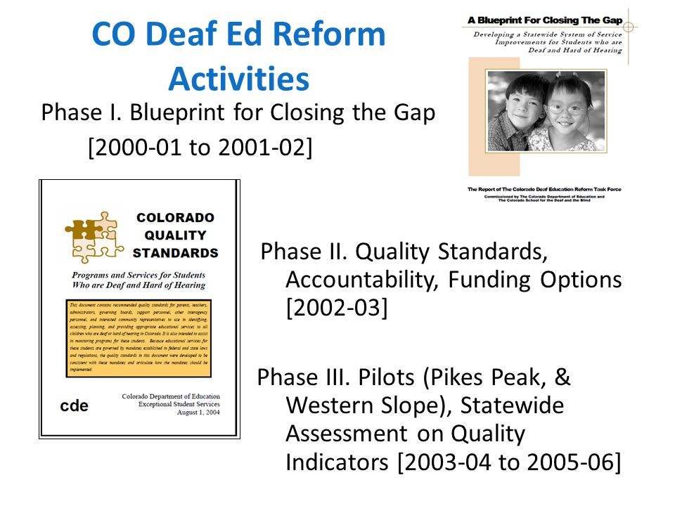 CO Deaf Ed Reform Activities Phase I. Blueprint for Closing the Gap [2000-01 to 2001-02] Phase II.