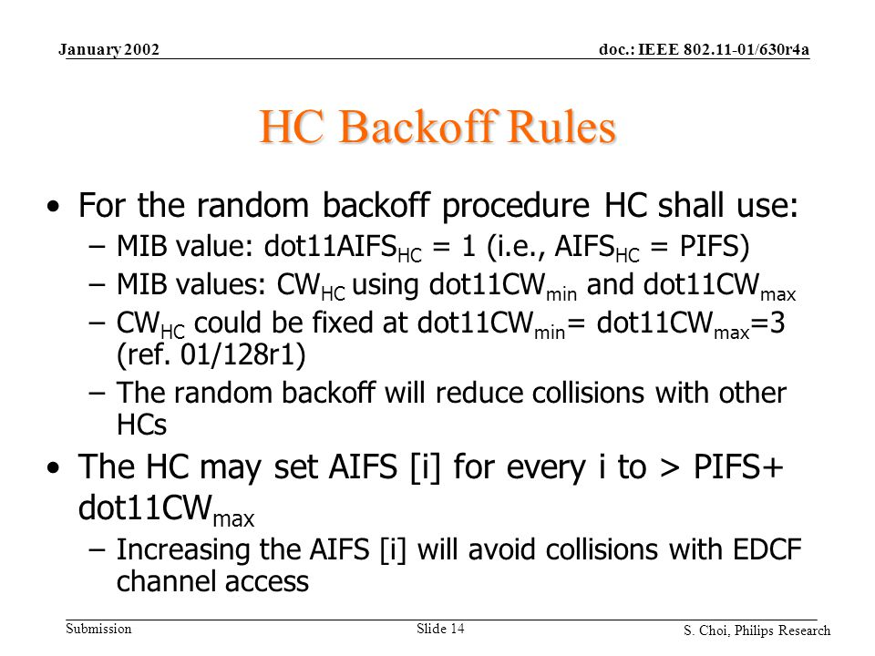 doc.: IEEE 802.11-01/630r4a Submission S. Choi, Philips Research January 2002 Slide 14 HC Backoff Rules For the random backoff procedure HC shall use: