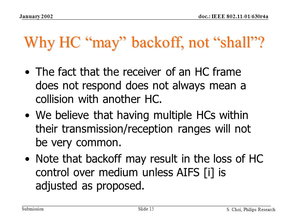 "doc.: IEEE 802.11-01/630r4a Submission S. Choi, Philips Research January 2002 Slide 15 Why HC ""may"" backoff, not ""shall""? The fact that the receiver o"