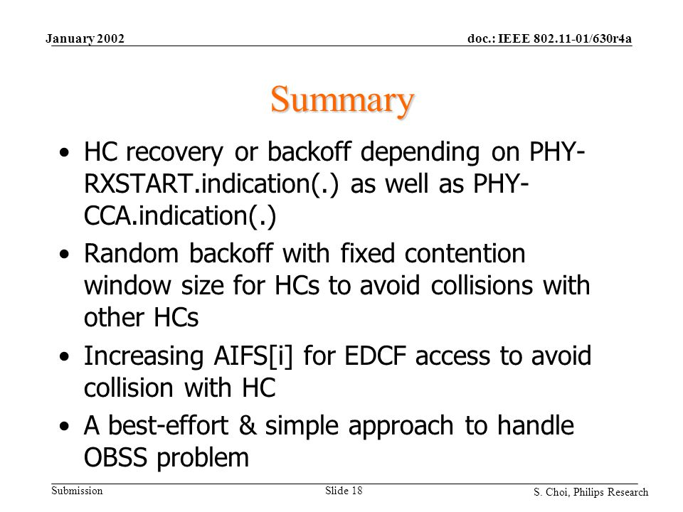 doc.: IEEE 802.11-01/630r4a Submission S. Choi, Philips Research January 2002 Slide 18 Summary HC recovery or backoff depending on PHY- RXSTART.indica