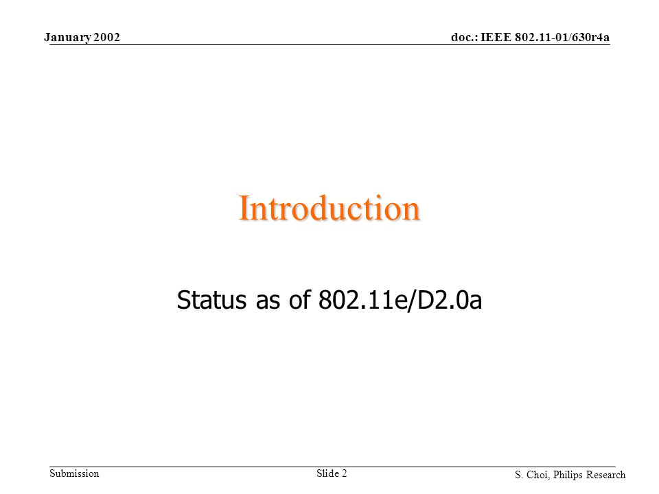 doc.: IEEE 802.11-01/630r4a Submission S. Choi, Philips Research January 2002 Slide 2 Introduction Status as of 802.11e/D2.0a