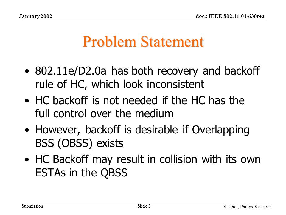 doc.: IEEE 802.11-01/630r4a Submission S. Choi, Philips Research January 2002 Slide 3 Problem Statement 802.11e/D2.0a has both recovery and backoff ru