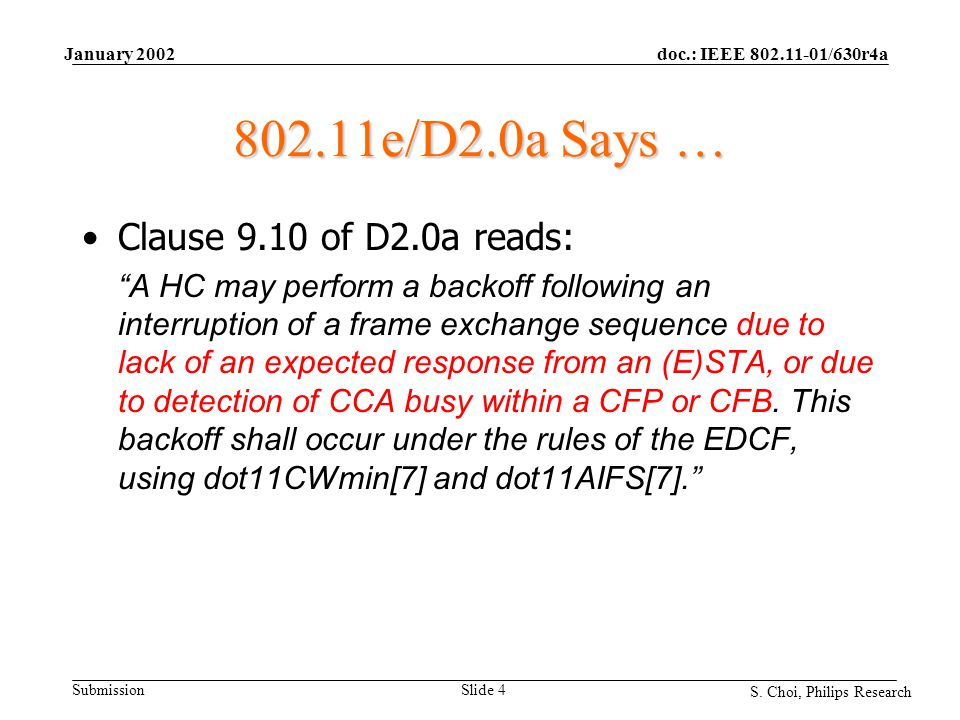 "doc.: IEEE 802.11-01/630r4a Submission S. Choi, Philips Research January 2002 Slide 4 802.11e/D2.0a Says … Clause 9.10 of D2.0a reads: ""A HC may perfo"