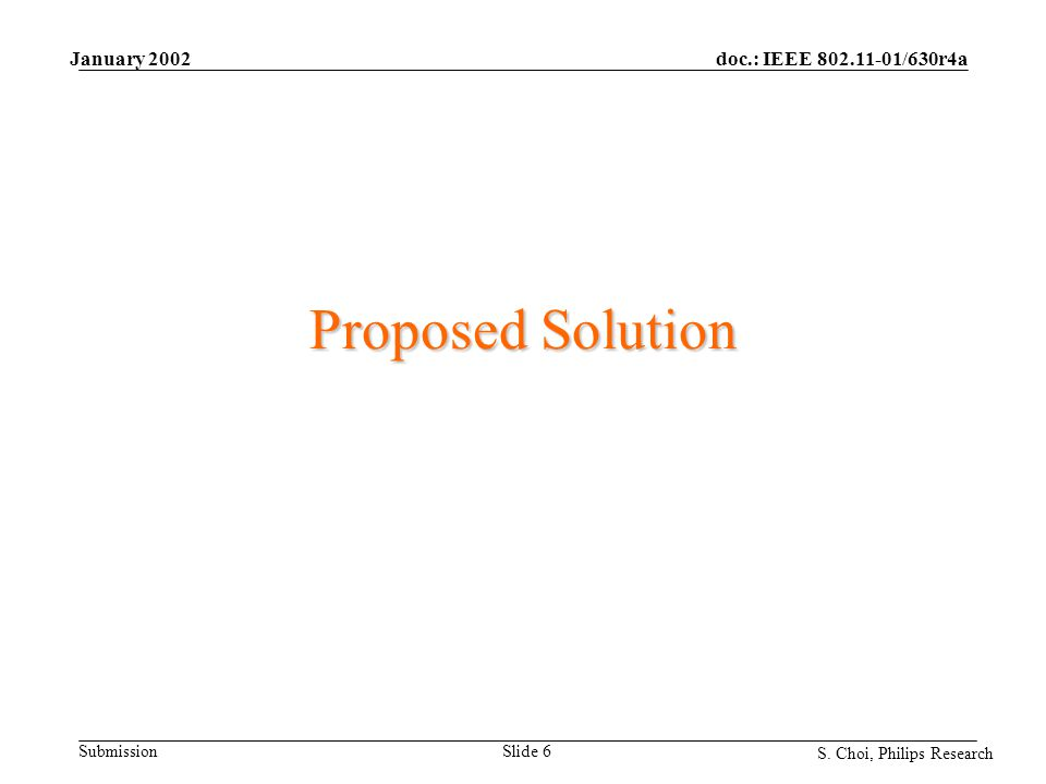 doc.: IEEE 802.11-01/630r4a Submission S. Choi, Philips Research January 2002 Slide 6 Proposed Solution