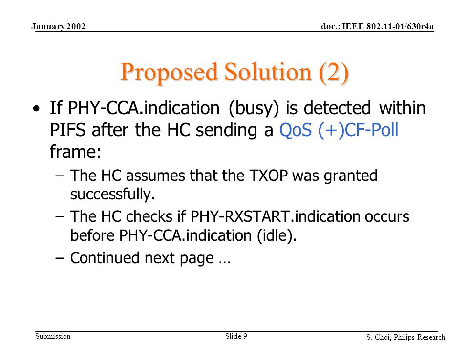 doc.: IEEE 802.11-01/630r4a Submission S. Choi, Philips Research January 2002 Slide 9 Proposed Solution (2) If PHY-CCA.indication (busy) is detected w