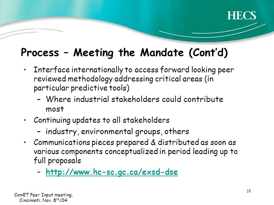 16 ComET Peer Input meeting, Cincinnati, Nov.