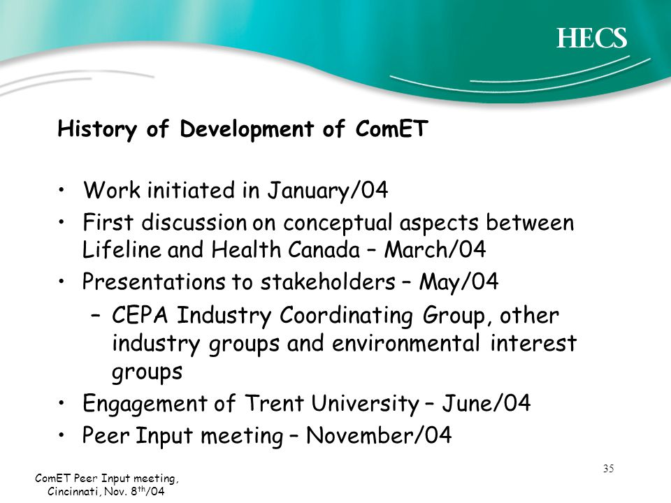 35 ComET Peer Input meeting, Cincinnati, Nov.