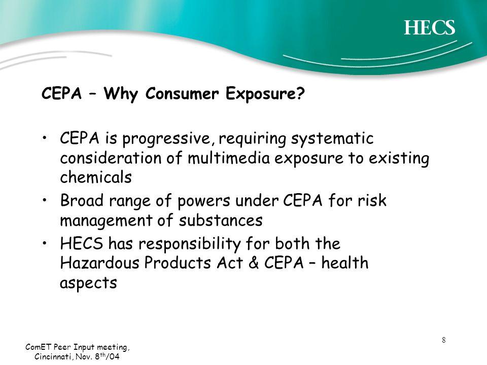 8 ComET Peer Input meeting, Cincinnati, Nov. 8 th /04 CEPA – Why Consumer Exposure.