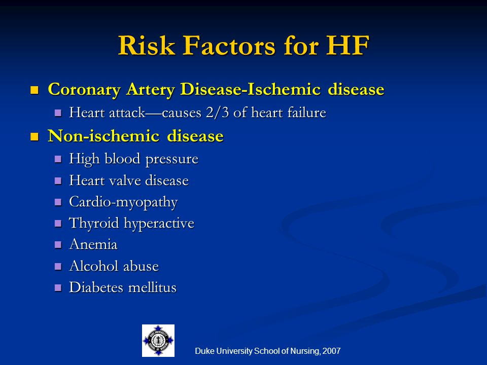 Duke University School of Nursing, 2007 Risk Factors for HF Coronary Artery Disease-Ischemic disease Coronary Artery Disease-Ischemic disease Heart at