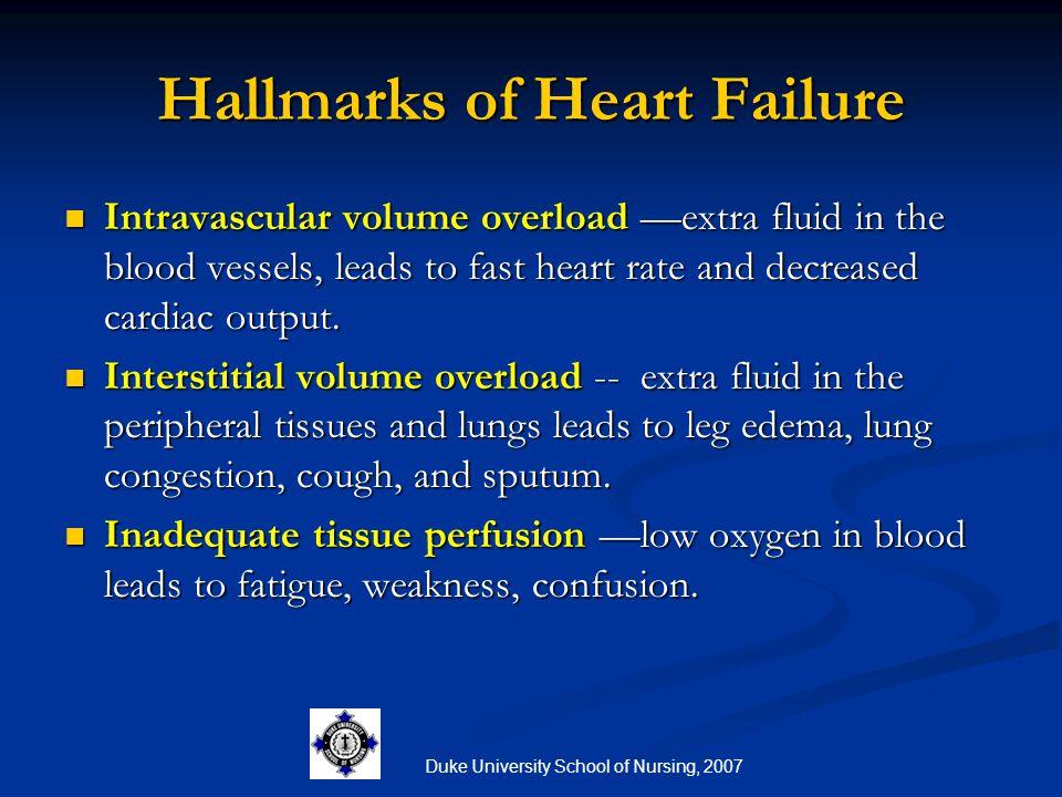 Duke University School of Nursing, 2007 Hallmarks of Heart Failure Intravascular volume overload —extra fluid in the blood vessels, leads to fast hear