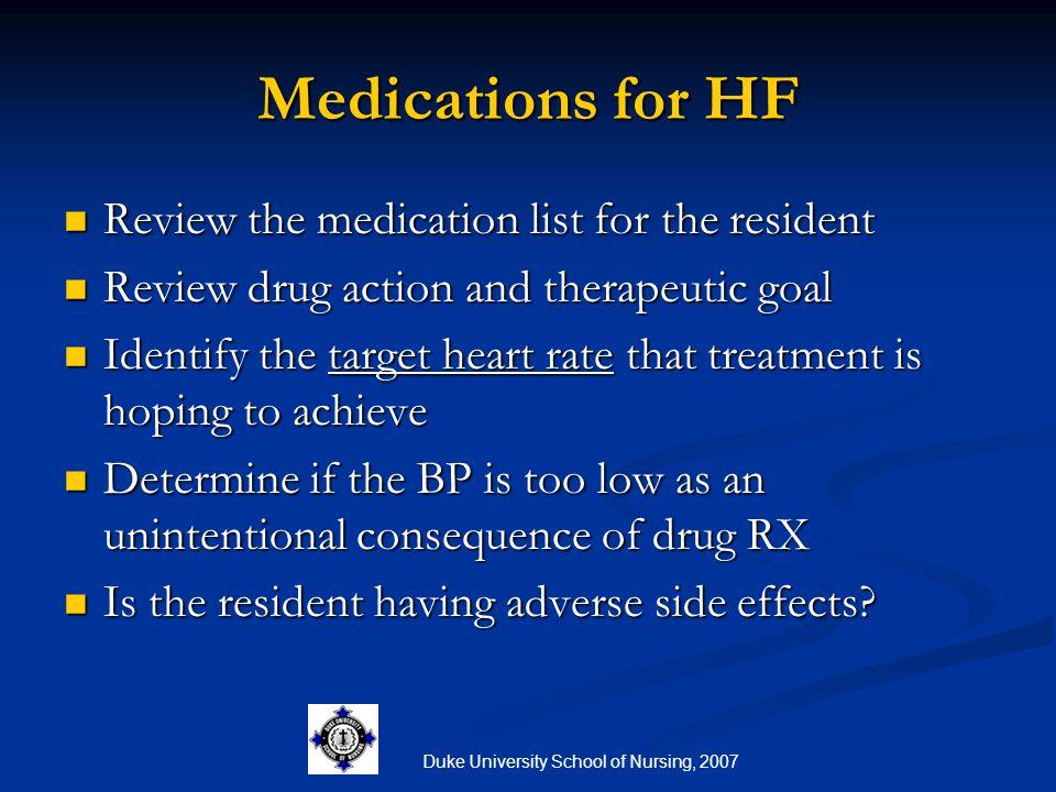Duke University School of Nursing, 2007 Medications for HF Review the medication list for the resident Review the medication list for the resident Rev