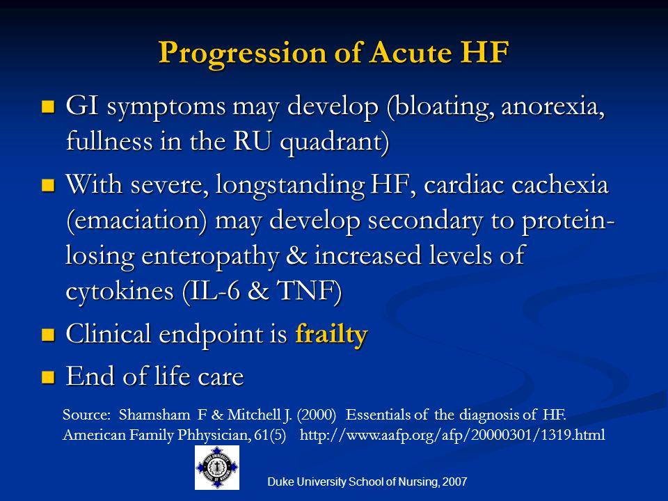 Duke University School of Nursing, 2007 Progression of Acute HF GI symptoms may develop (bloating, anorexia, fullness in the RU quadrant) GI symptoms