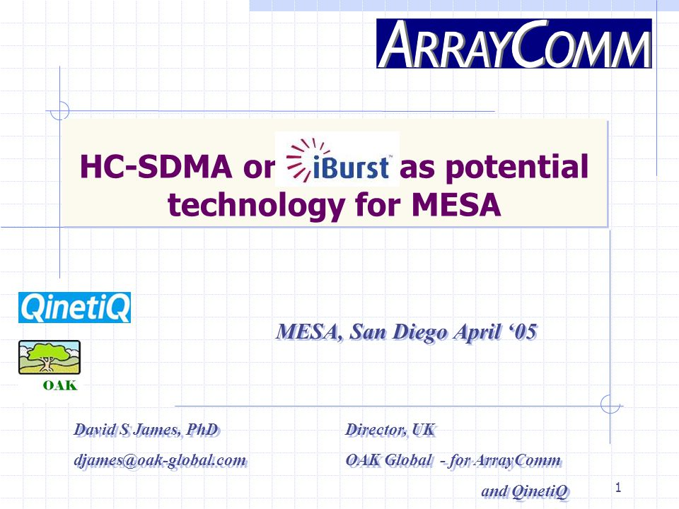 1 HC-SDMA or as potential technology for MESA MESA, San Diego April '05 David S James, PhD Director, UK djames@oak-global.comOAK Global - for ArrayComm and QinetiQ David S James, PhD Director, UK djames@oak-global.comOAK Global - for ArrayComm and QinetiQ