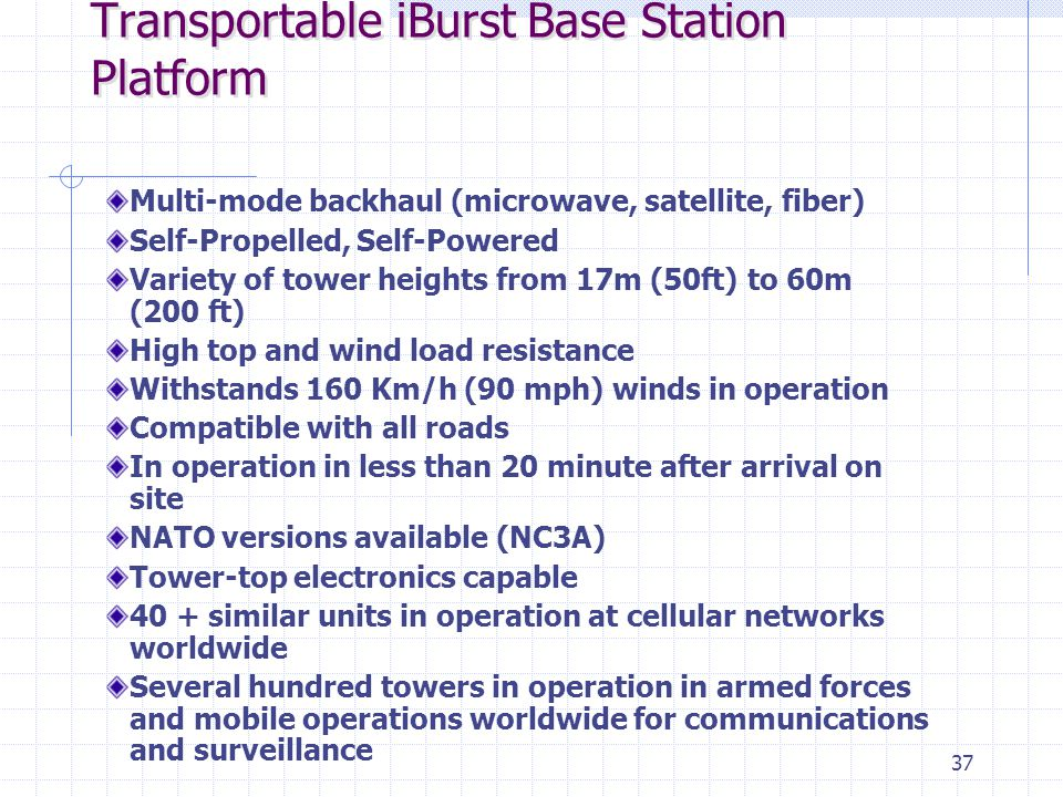 37 Transportable iBurst Base Station Platform Multi-mode backhaul (microwave, satellite, fiber) Self-Propelled, Self-Powered Variety of tower heights