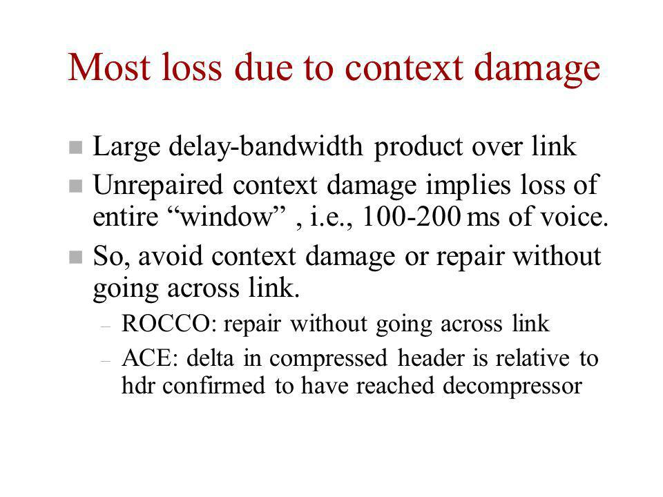 "Most loss due to context damage n Large delay-bandwidth product over link n Unrepaired context damage implies loss of entire ""window"", i.e., 100-200 m"