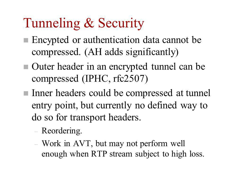 Tunneling & Security n Encypted or authentication data cannot be compressed.