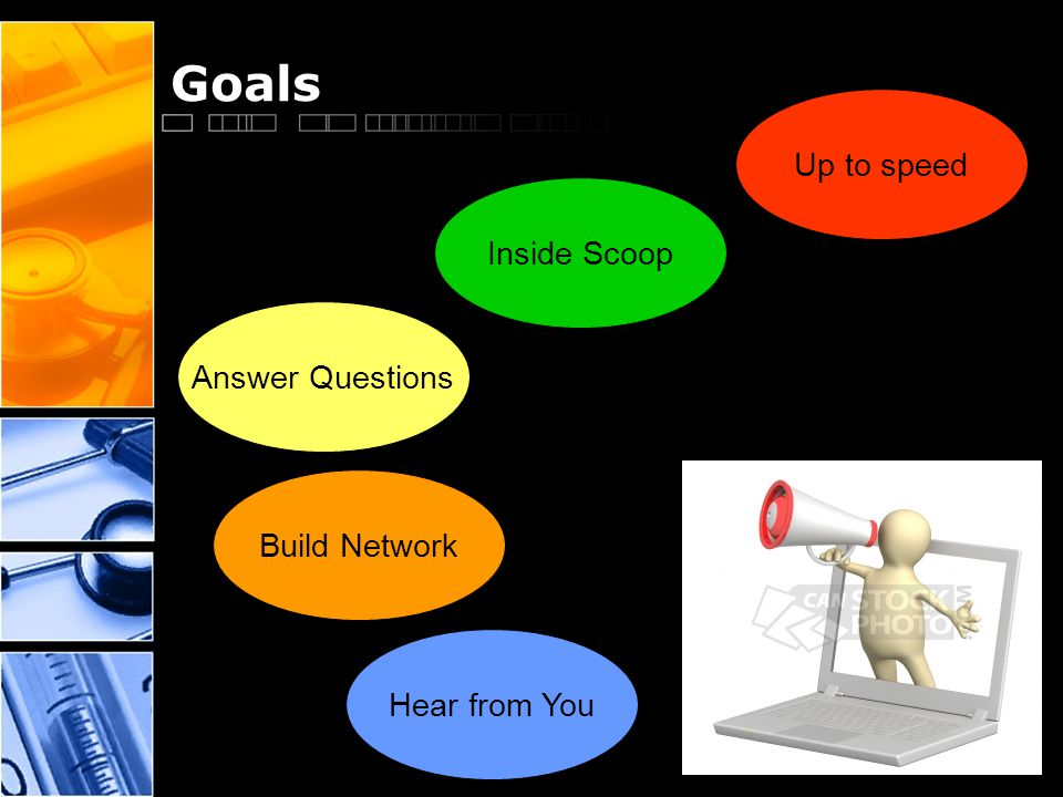 Goals Up to speed Inside Scoop Answer Questions Build Network Hear from You