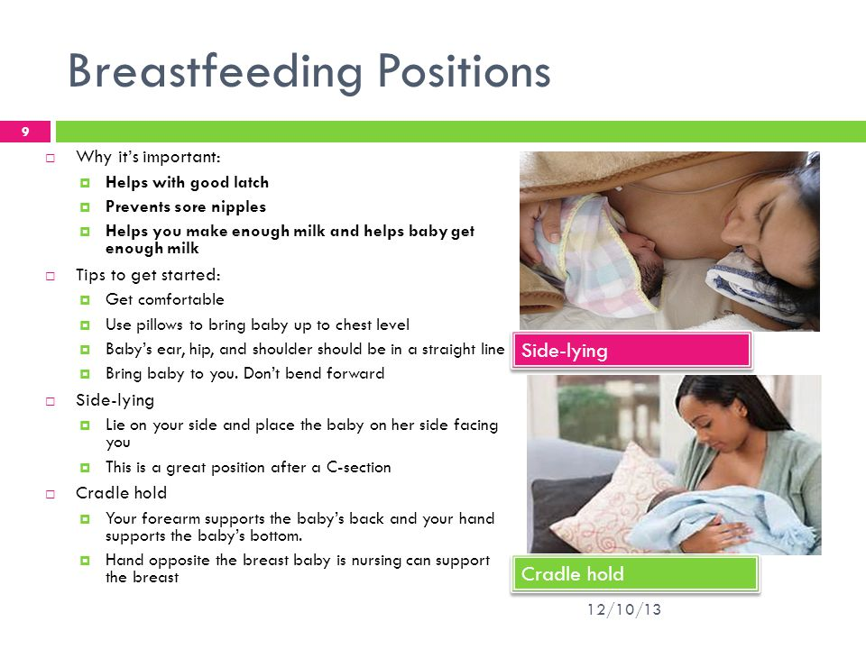 Breastfeeding Positions  Cross cradle  Hold baby across your lap using the arm opposite the breast the baby is nursing on to support baby.