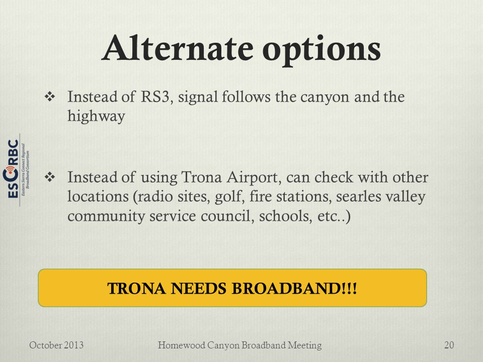 Alternate options  Instead of RS3, signal follows the canyon and the highway  Instead of using Trona Airport, can check with other locations (radio