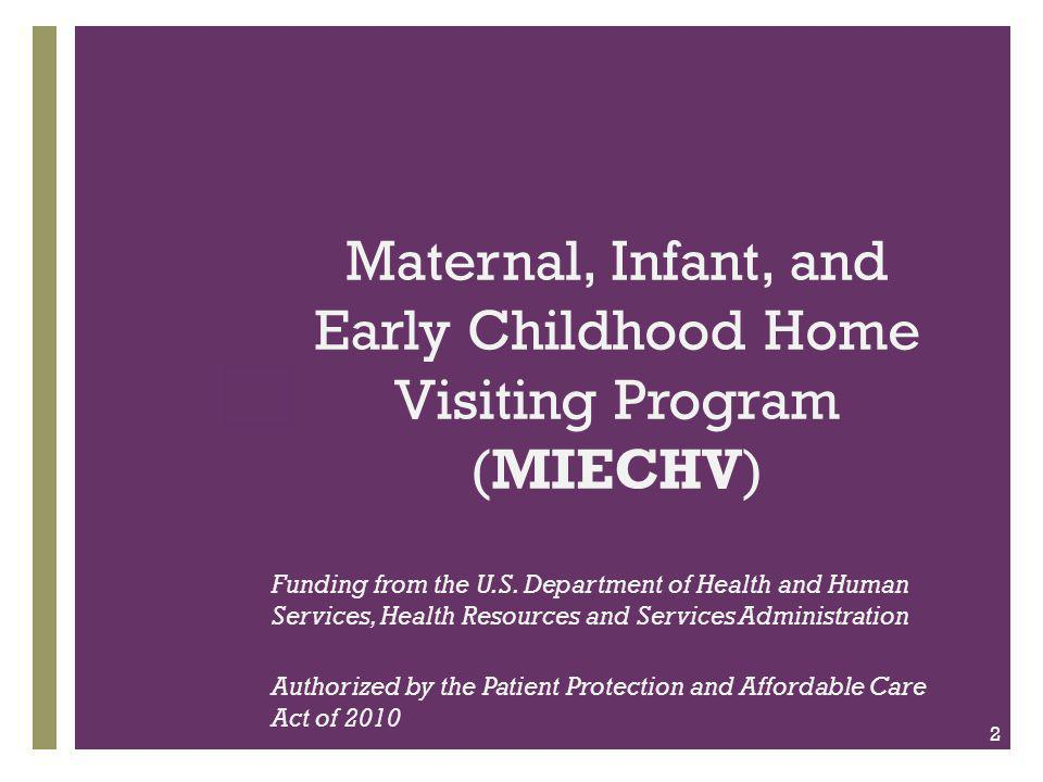 + Federal HV Program Goals  Strengthen and improve the programs and activities carried out under Title V  Improve coordination of services for at- risk communities; and  Identify and provide comprehensive services to improve outcomes for families who reside in at-risk communities.