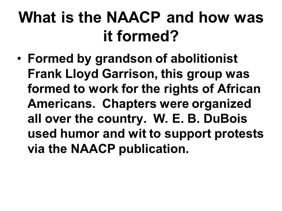 What is the NAACP and how was it formed? Formed by grandson of abolitionist Frank Lloyd Garrison, this group was formed to work for the rights of Afri