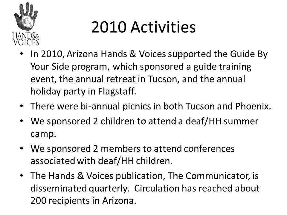 2010 Activities In 2010, Arizona Hands & Voices supported the Guide By Your Side program, which sponsored a guide training event, the annual retreat i