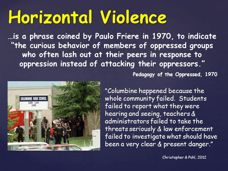 SHRM says: It is persistent, offensive, abusive, intimidating or insulting behavior or unfair actions directed at another individual, causing the recipient to feel threatened, abused, humiliated, or vulnerable. Jusko, 2013 Horizontal Violence