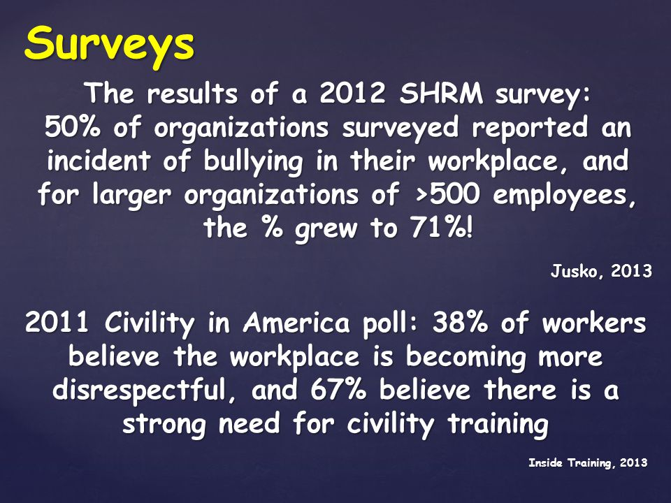 Incivility, bullying, harassment, & discrimination affect the bottom line because these behaviors increase anxiety, depression, absenteeism, presenteeism, & turnover; & decrease motivation, quality of work, output, job satisfaction, & ability to meet goals.