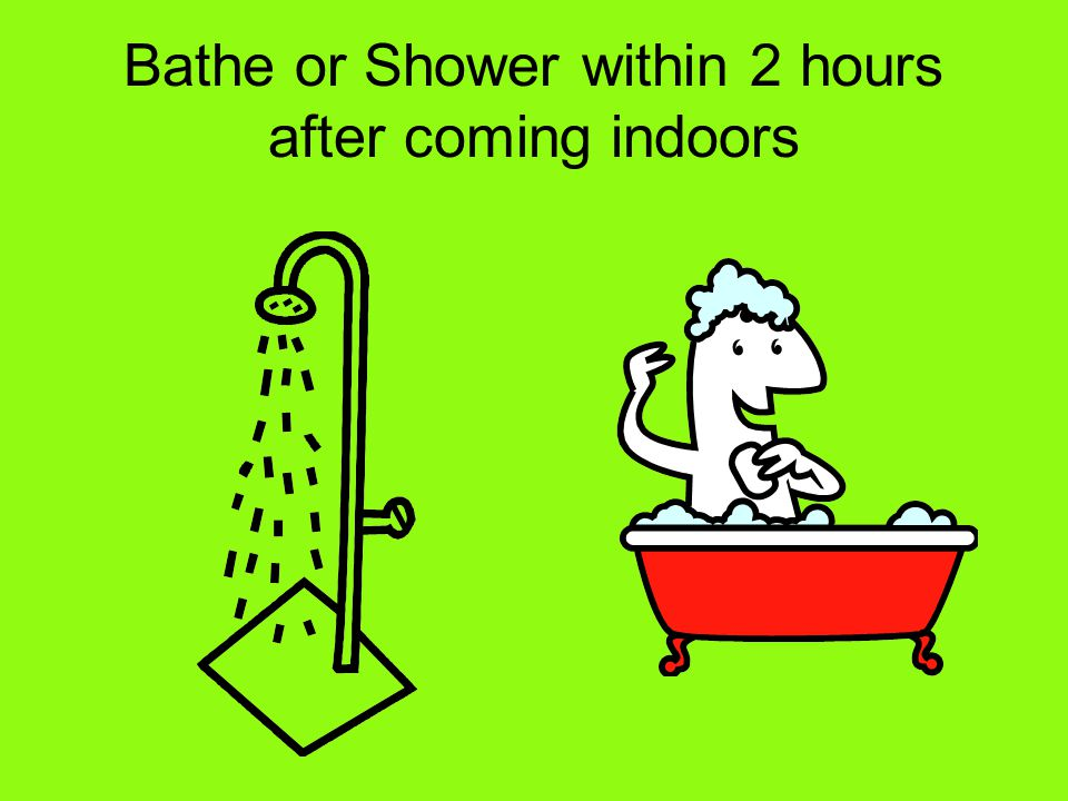 Bathe or Shower within 2 hours after coming indoors
