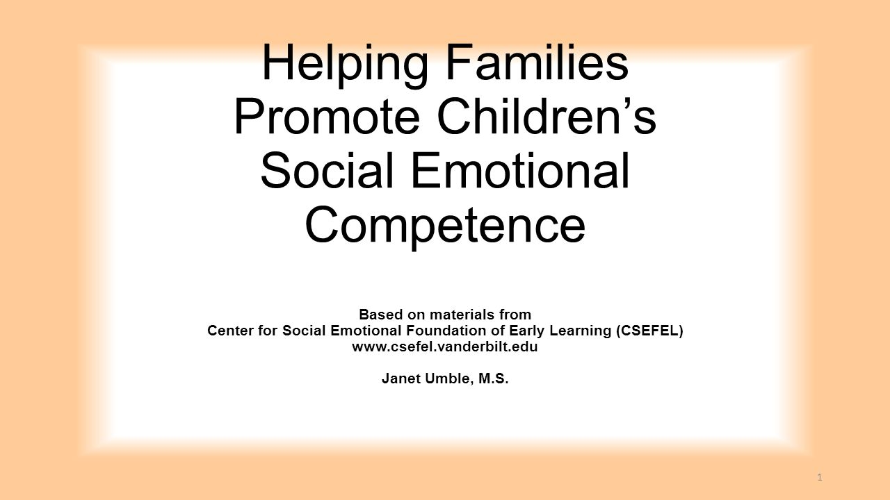Helping Families Promote Children's Social Emotional Competence Based on materials from Center for Social Emotional Foundation of Early Learning (CSEF