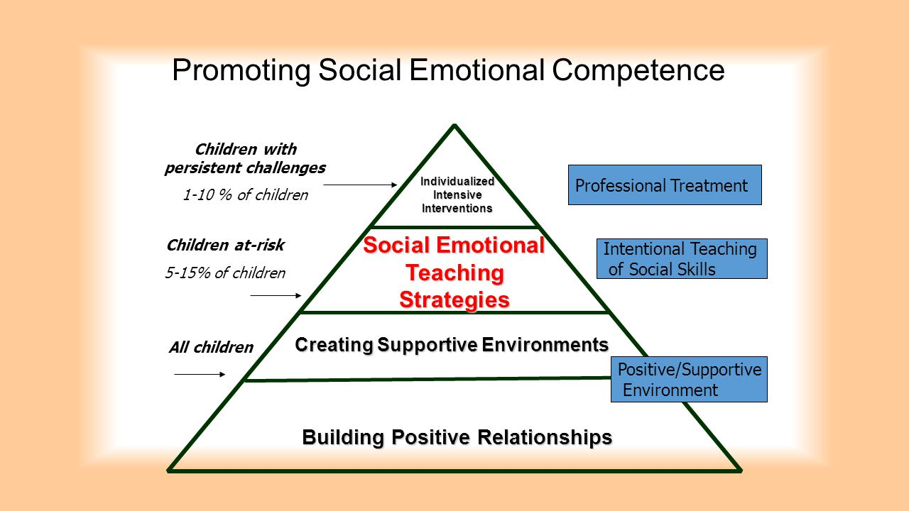Promoting Social Emotional Competence Creating Supportive Environments Building Positive Relationships Social Emotional Teaching Strategies Individual