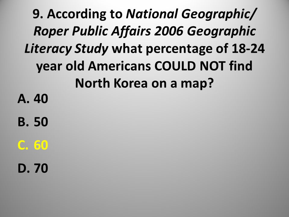 9. According to National Geographic/ Roper Public Affairs 2006 Geographic Literacy Study what percentage of 18-24 year old Americans COULD NOT find No