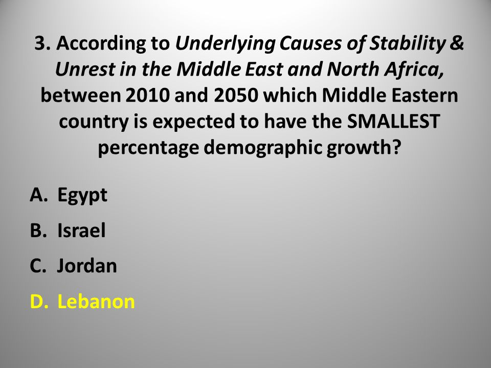 3. According to Underlying Causes of Stability & Unrest in the Middle East and North Africa, between 2010 and 2050 which Middle Eastern country is exp