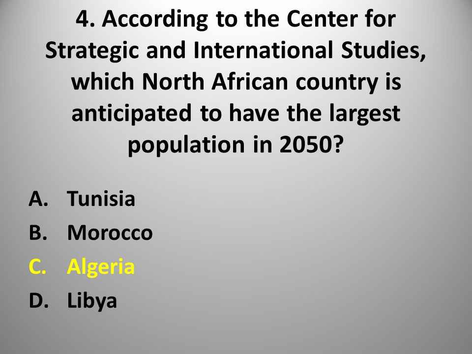 4. According to the Center for Strategic and International Studies, which North African country is anticipated to have the largest population in 2050?