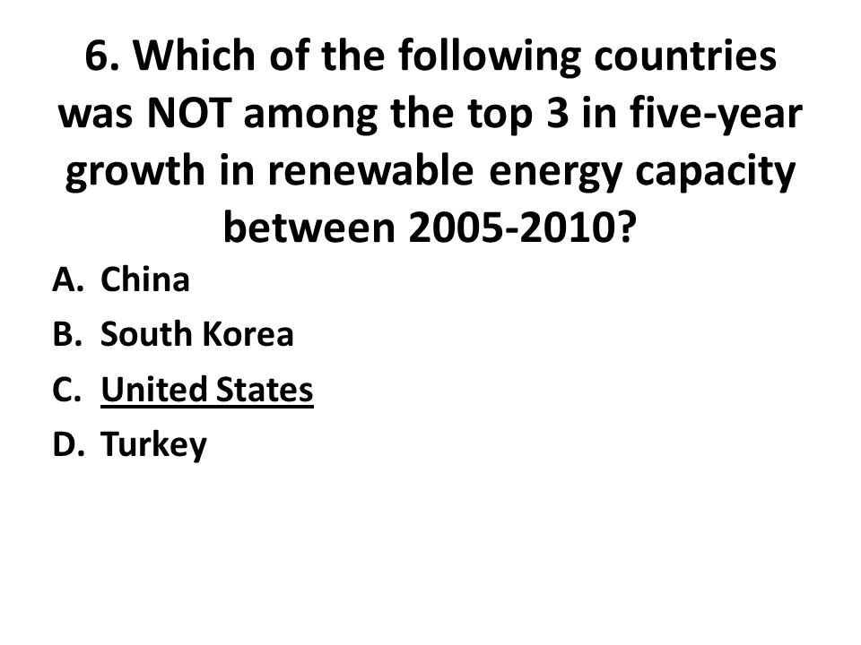 6. Which of the following countries was NOT among the top 3 in five-year growth in renewable energy capacity between 2005-2010? A.China B.South Korea