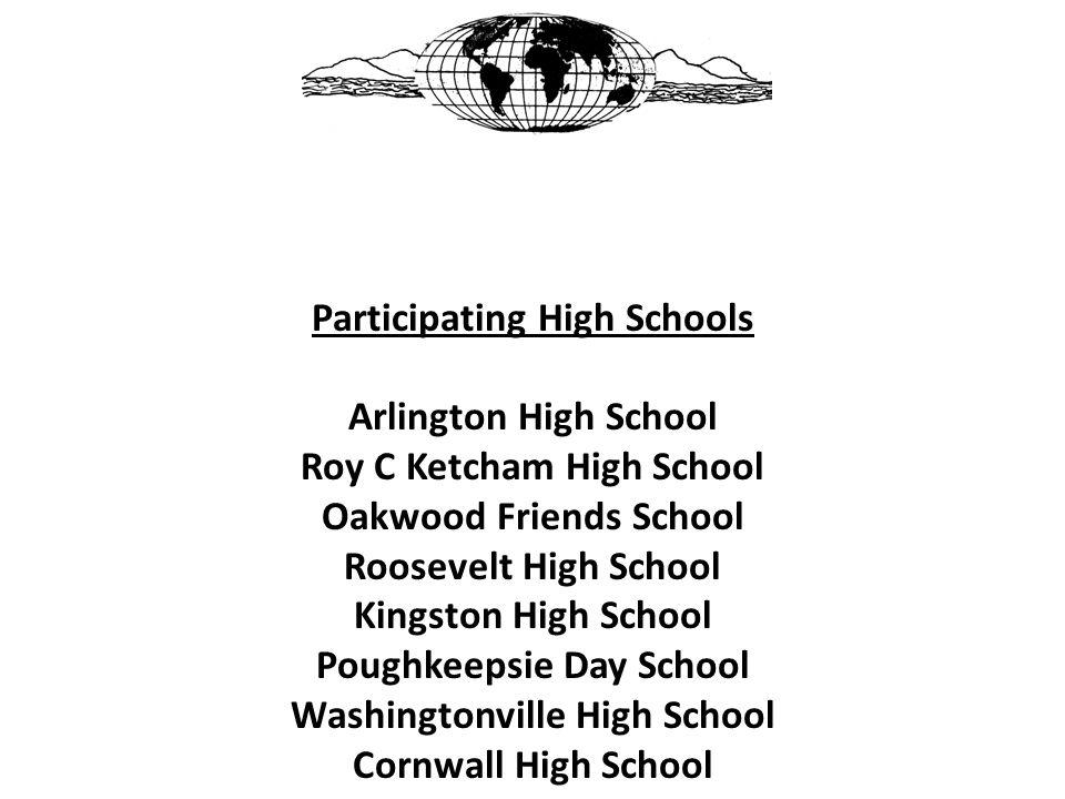 Participating High Schools Arlington High School Roy C Ketcham High School Oakwood Friends School Roosevelt High School Kingston High School Poughkeep