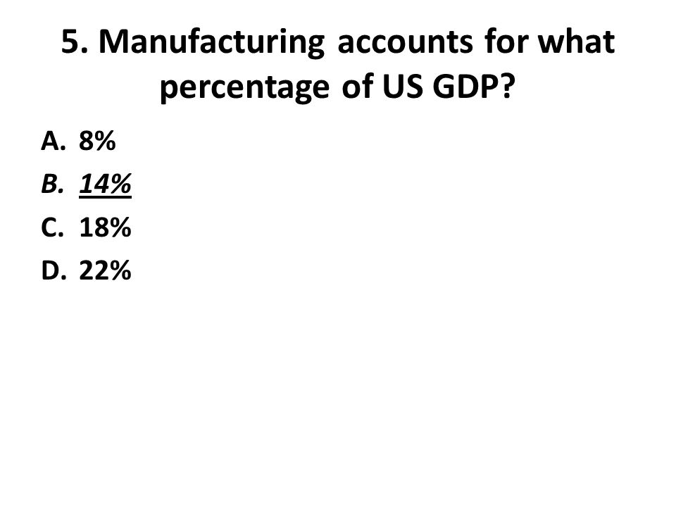 5. Manufacturing accounts for what percentage of US GDP? A.8% B.14% C.18% D.22%